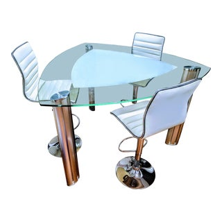 Contemporary Room and Board Glass High Top Dining Set - 4 Pieces For Sale