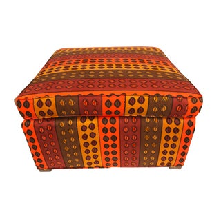 "Custom Made Lg Ottoman W/ African Kente Cloth 27.5"" W by 16"" H For Sale"