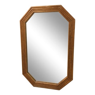 Vintage Wood Bamboo Trimmed Mirror For Sale
