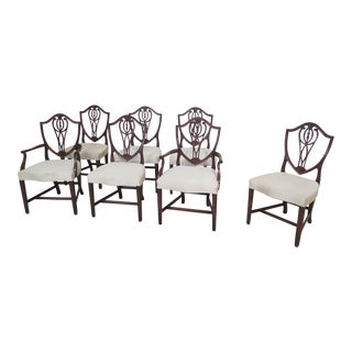1920s Vintage Custom Made Mahogany Dining Shield Chairs- Set of 7 For Sale