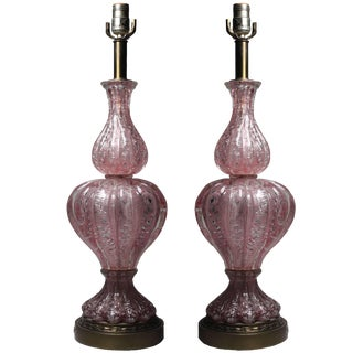 Pair of Vintage Pink Murano Glass Lamps With Silver Foil by Barovier For Sale