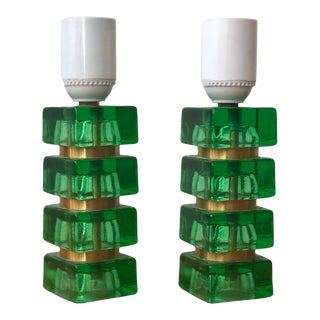 1960s Mini Green and Gold Table Lamps by Orrefors - a Pair For Sale