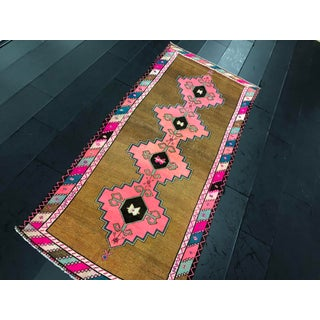Vintage Turkish Anatolian Pink Geometric Patterned Oushak Area Rug - 4′4″ × 9′10″ Preview