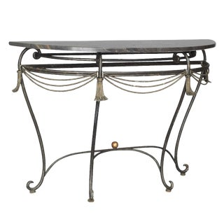 Empire Style Marble Top Wrought Iron Console For Sale