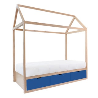 Domo Zen Twin Canopy Bed in Maple With Pacific Blue Finish Drawers Preview