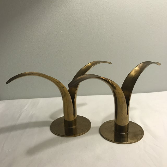 Ystad Metal Swedish Lily Candleholders - A Pair For Sale - Image 10 of 11