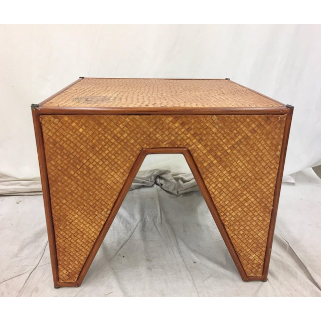 Vintage Woven Side Table & Stacking Ottomans - Set of 5 - Image 4 of 7