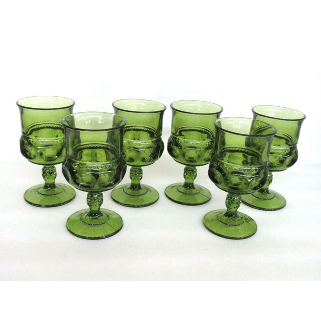 Indiana Glass Kings Crown Thumbprint Green Set of 6 Wine Cordial Goblets For Sale - Image 9 of 11