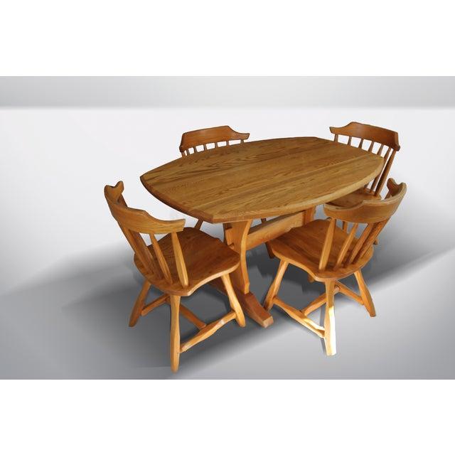 Hunt Country Furniture Oak Trestle Dining Set - Image 2 of 5