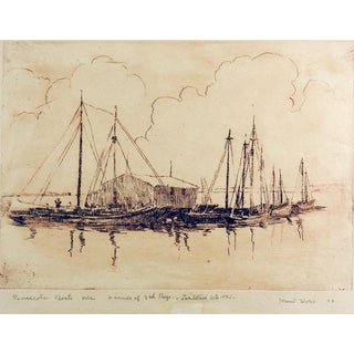 Pensecola Marina by Maud Work Etching For Sale
