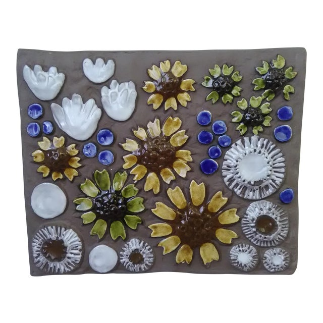 Mid-Century Swedish Ceramic Floral Wall Plaque For Sale