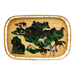 Vintage Decoupage Bamboo Tray For Sale