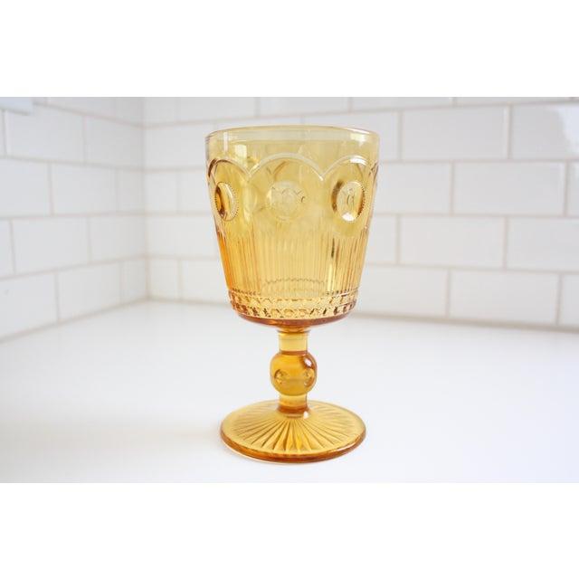 Vintage Amber Glass Goblets - Set of 4 - Image 6 of 7