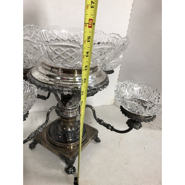 Vintage Crystal and Silver Plate Epergne For Sale In Savannah - Image 6 of 13
