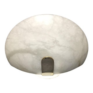 Vintage Lightolier Alabaster and Brass Wall Sconce For Sale