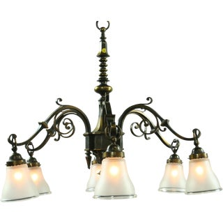 Large Heavy Vintage French Gothic Chandelier W/ 6 Arms Frosted Glass/Spikes/Ring For Sale