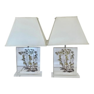 1970's Pair Bamboo Motif Lucite Lamps by Primo For Sale