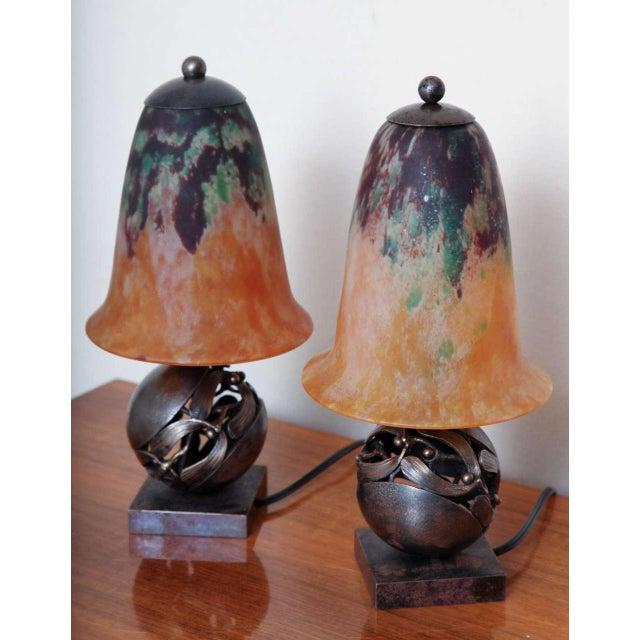 Yellow Pair of Edgar Brandt & Daum Art Deco Table Lamps For Sale - Image 8 of 10