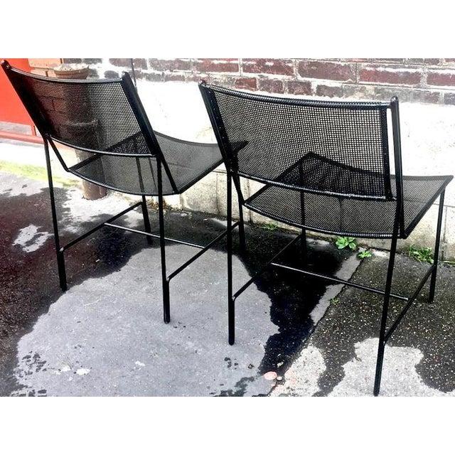 """Mathieu Matégot Mathieu Mategot Unique Set of Four Black Metal Chair Models """"Panamera"""" For Sale - Image 4 of 8"""