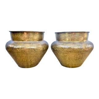 Vintage Syrian Brass Hand-Etched Cachepots - a Pair For Sale