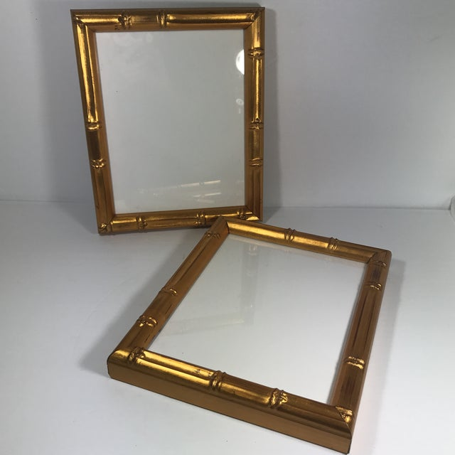 Gold Pair of Gold Gilt Bamboo Frames For Sale - Image 8 of 11