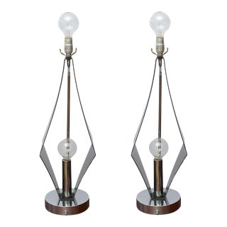 Pair of Double-Bulbed Geometric, Smoked Lucite and Chrome Lamps, 1970s Usa For Sale