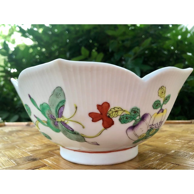 Mid Century Vintage Chinese Famille Verte Green Butterfly and Floral Porcelain Lotus Bowl For Sale In Charleston - Image 6 of 10
