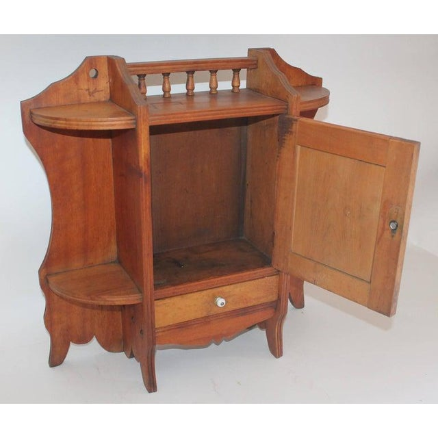 19th Century Pine Hanging Medicine Cabinet With One Drawer For Sale - Image 4 of 10