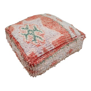 Moroccan Orange Pouf Cover For Sale