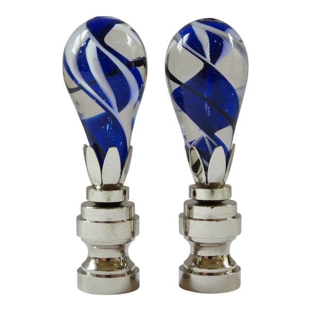 Cobalt Swirl Blown Glass Finials - a Pair - Image 1 of 4