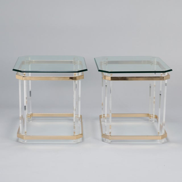 Pair Mid Century Lucite Brass and Glass Side Tables For Sale - Image 10 of 11