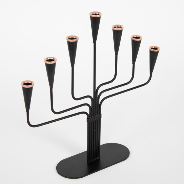 Copper Pair of Gunnar Andersen for Ystad-Metall Candelabrum Circa 1960s For Sale - Image 7 of 10