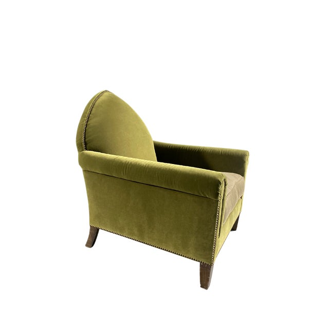 2010s Luxe Green Velvet Gothic Chair With Nailhead Trim and Plaid Seat. For Sale - Image 5 of 7