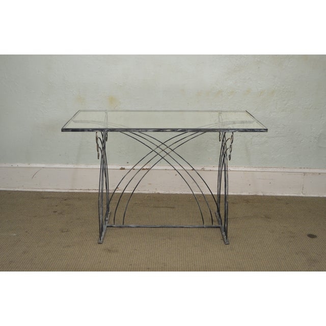 Art Deco Vintage Studio Wrought Iron Glass Top Patio Console Table For Sale - Image 10 of 13