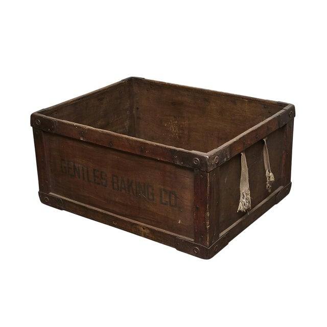Gentles Baking CO. Wooden Delivery Box For Sale