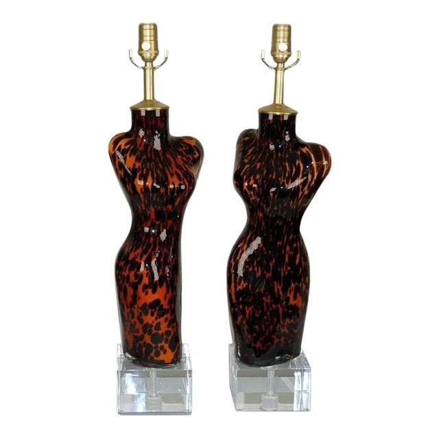 Venus Murano Glass Table Lamps Leopard Spots For Sale