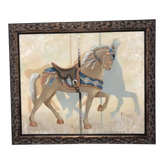 Carousel Horse Framed Canvas Painting For Sale