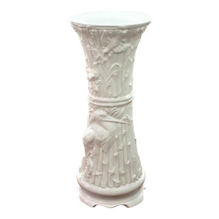 Vintage Blanc De Chine, Chinoiserie Style Ceramic Faux Bamboo Plant Stand