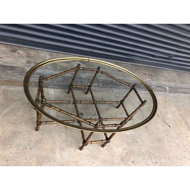 Vintage Faux Bamboo Brass Tray Top Coffee Table For Sale In Tampa - Image 6 of 13
