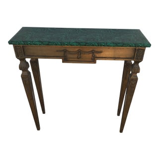 1960s Hollywood Regency Faux Malachite Console Table For Sale