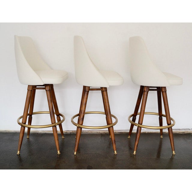 Mid-Century Hollywood Regency Bar Stools - Set of 3 - Image 3 of 11
