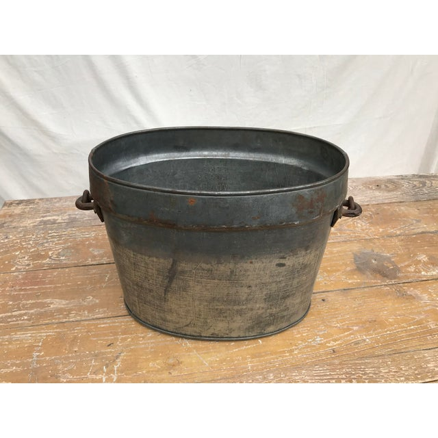 Interesting Vintage Oval Heavy Gauge Pressed Tin Utility Bucket With Cast Iron Attached Movable Handle. Original Vintage...