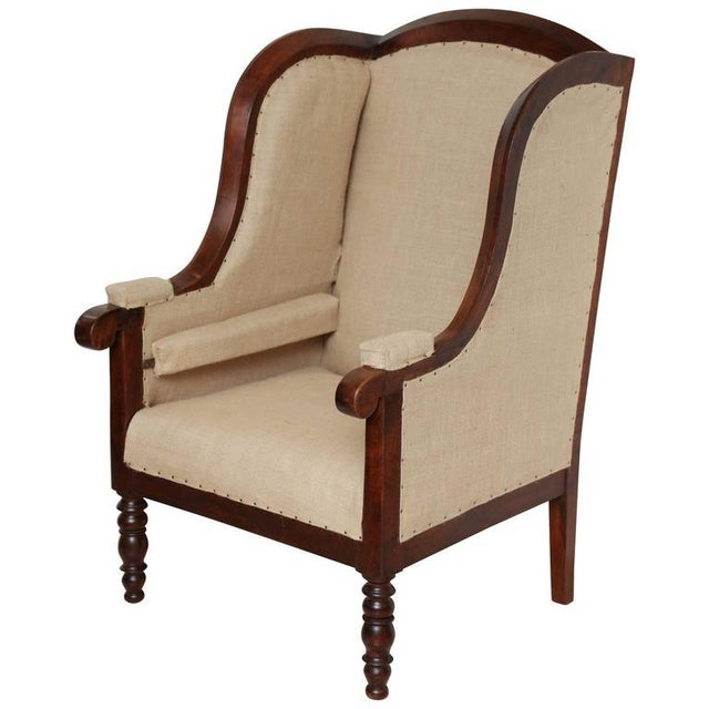 Early 19th Century French Walnut Upholstered Wing Chair For Sale - Image 10 of 10