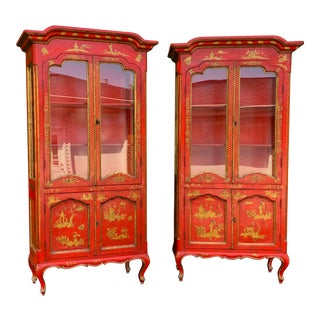 Vintage Chinoiserie Red Lacquer Vitrines / Display Cabinets - a Pair For Sale