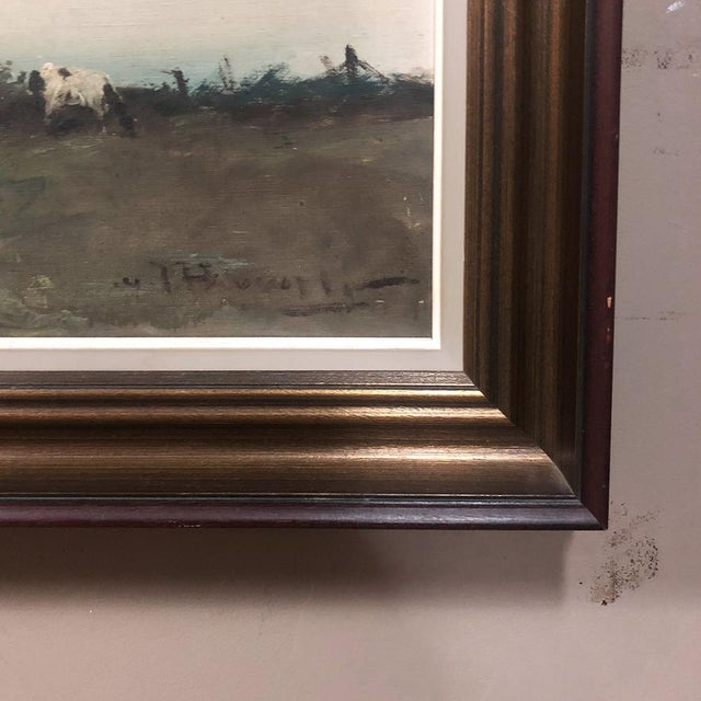 Antique Framed Oil Painting on Canvas by Pauwels For Sale - Image 9 of 12