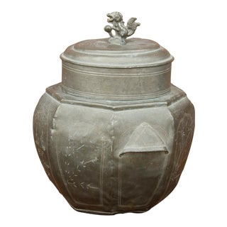 Antique Polished Tin Canister For Sale