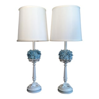 Mid-Century Porcelain Tyndale Lamps - a Pair For Sale
