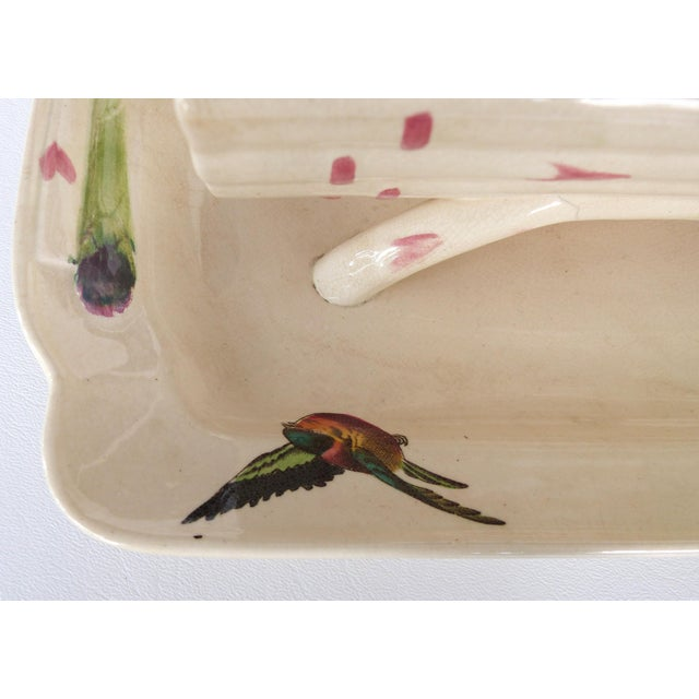 19th Century French Faience Asparagus Strainer & Attached Serving Dish For Sale - Image 9 of 13