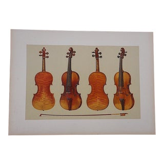 Antique Lithograph of Musical Instruments, Violins For Sale