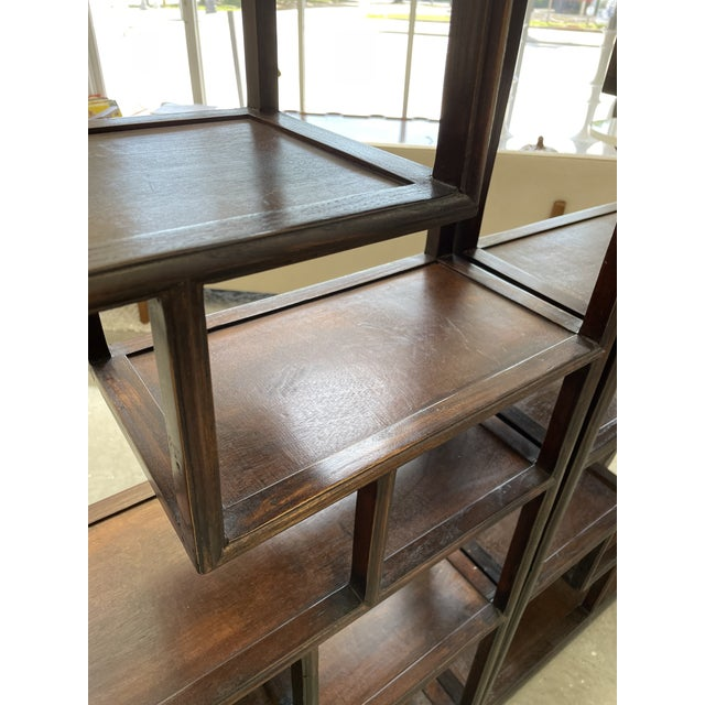 Brown 1960s Asian Style Wooden Etagere For Sale - Image 8 of 11